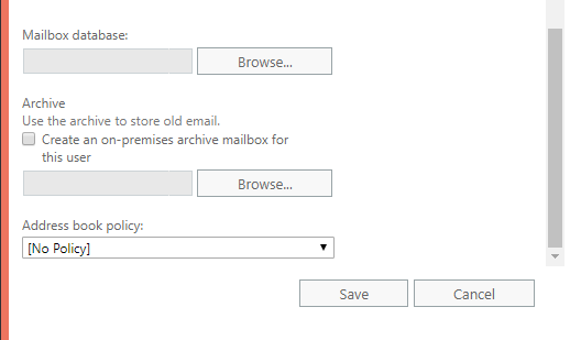 create mail box in exchange server 2016